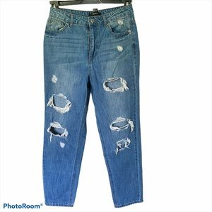 Forever 21 distressed high rise boyfriend jeans